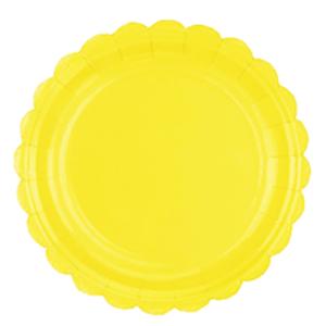 Prato de Papel Amarelo Candy 17,5cm - 10 unidades