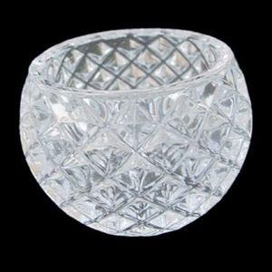 Castiçal de Vidro Redondo Lapidado 6,5cm