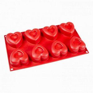 Forma De Silicone Vermelha Coração - 8 Furos