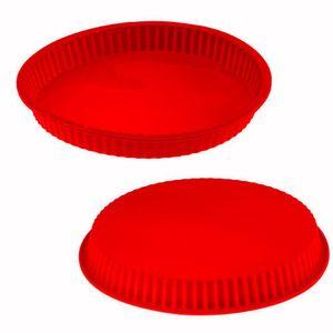Forma De Silicone Vermelha Para Torta 3x24cm