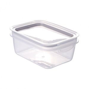Pote de Plástico Retangular 910 ml Hermético Trava Mais Incolor