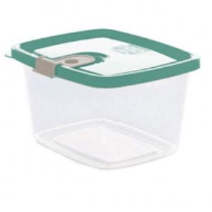 Pote de Plástico Retangular 510 ml com Tampa Fixa e Trava Trio