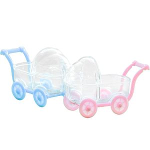 Lembrancinha de Acrílico  8 x 6,5cm Carrinho de Bebê com 5 Unidades Azul