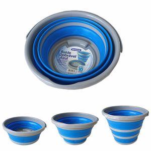 Balde Dobrável Azul/Cinza 10 Litros