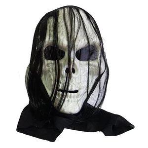 Máscara em Plástico Rígido Caveira com Cabelo