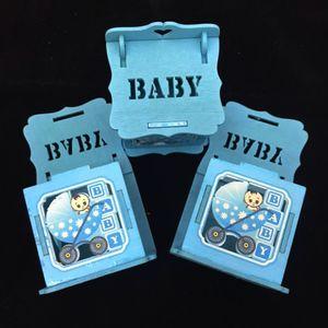 Lembrancinha Caixinha de Madeira Baby 7 x 6 x 5,5cm com 12 Unidades Azul