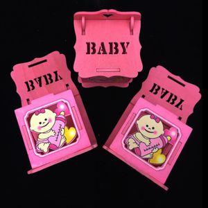 Lembrancinha Caixinha de Madeira Baby 7 x 6 x 5,5cm com 12 Unidades Rosa