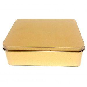 Lembrancinha Lata Retangular de Metal 10 x 14 x 4,5cm com 4 Unidades Ouro