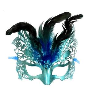 Máscara de Carnaval Vazada Grande com Plumas Sortidas