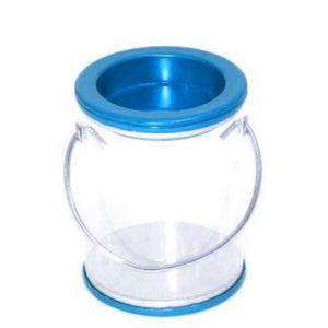 Lembrancinha Pote Transparente com Alça 7 x 5,2cm com 12 Unidades Azul