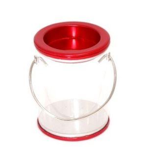 Lembrancinha Pote Transparente com Alça 7 x 5,2cm com 12 Unidades Vermelho