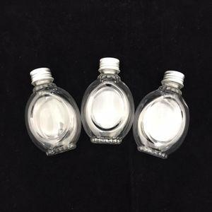 Mini Garrafinha Plástica com Tampa de Metal Oval 8,5 x 6cm com 12 Unidades Prata