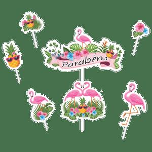 Kit Topo de Bolo Flamingo