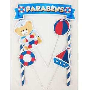 Kit Topo de Bolo Urso Marinheiro