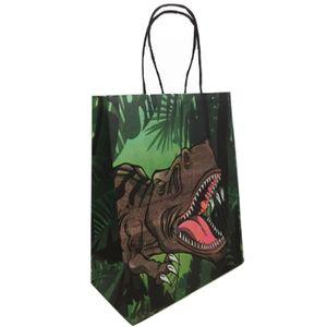 Sacola de Papel Para Lembrancinhas 13,5 x 8 x 19cm com 10 Unidades Dinossauros