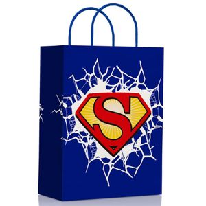 Sacola de Papel Para Lembrancinhas 17,5 x 8,5 x 21,5cm com 10 Unidades Superman