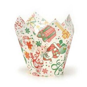 Forminha de Papel Tulip Cup Para Doces 9 x 5cm Estampa Natalina - 10 Unidades
