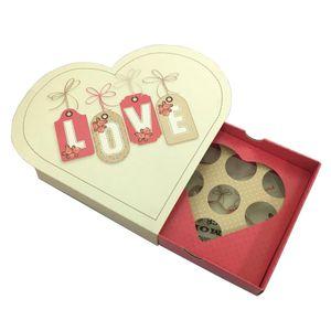 Caixa decorada Coração Love 13x13cm