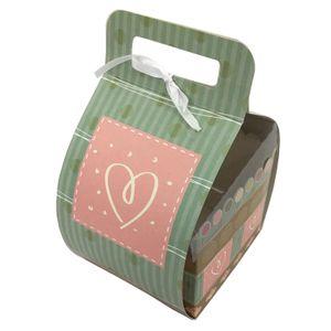 Caixa Decorada para Mini Bolo com Alça Estampa Coração 12x11x12cm