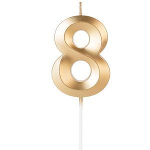 Vela Design Dourada Numero 8