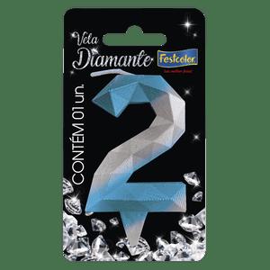 Vela Diamante Azul Prateada 2