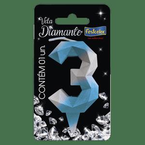 Vela Diamante Azul Prateada 3