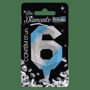 Vela Diamante Azul Prateada 6