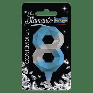 Vela Diamante Azul Prateada 8