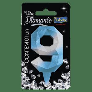 Vela Diamante Azul Prateada 9