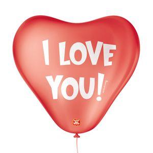 """Balão São Roque Temático 11"""" Coração Vermelho I Love You com 25 Unidades"""