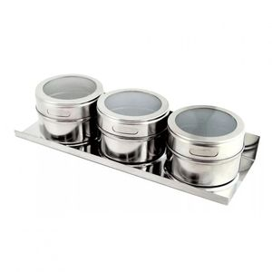 Porta Tempero de Inox com Imã Magnético 4 peças 50g