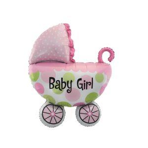 Balão Metalizado Carrinho de Bebê Menina 70 x 45,5cm