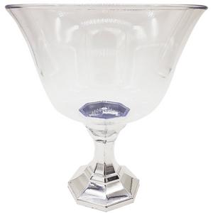 Taça Diamante Decorativa Para Doces 1250ml com Base Cromada Prata