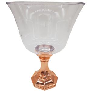 Taça Diamante Decorativa Para Doces 1250ml com Base Cromada Rose Gold