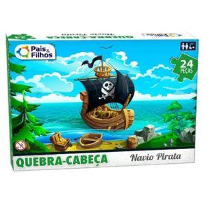 Quebra Cabeça Navio Pirata com 24 Peças