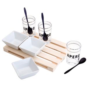 Conjunto Bandeja De Plástico com 3 Molheiras De Vidro