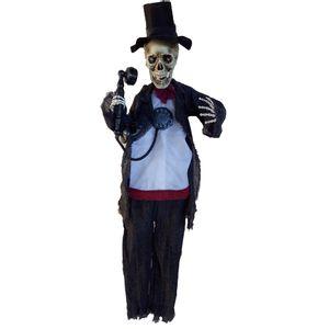 Esqueleto com Cartola Decorativo com Luz e Som 100cm