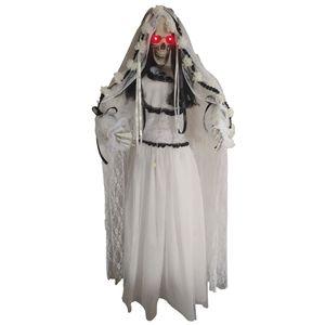 Noiva Cadáver para Decoração de Halloween em Pé com Luz e Som 170cm
