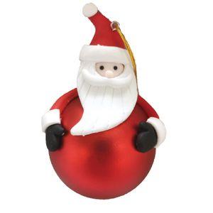Bola Fosca Vermelha com Papai Noel em Resina 12x7,5cm