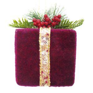 Ornamento Caixa de Presente Veludo Vermelho Cherry 8cm