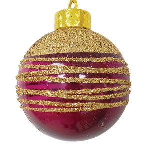 Bola Decorada Bordô com Ouro 8cm