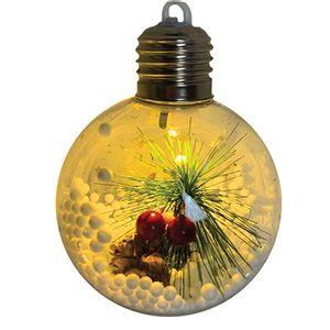 Bola Transparente Estilo Lâmpada com Decoração 8cm