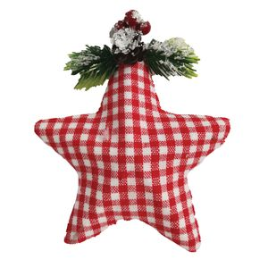 Ornamento Estrela Xadrez Vermelha e Branca 12x6cm