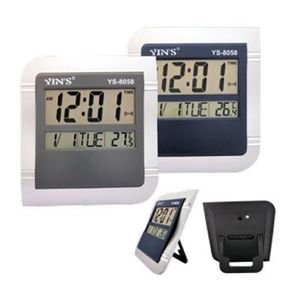 Relógio Digital Parede Mesa 26x23cm Calendário e Temperatura