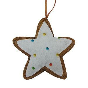 Ornamento Estrela com Poá Colorido 10x10cm