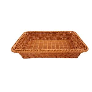 Cesta Redonda de Plástico Marrom Bambu 30x20x6,5cm