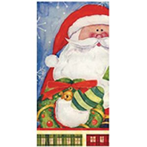 Lenço Importado Decorativo 33 x 33cm 3 Folhas com 10 Unidades Papai Noel com Luva