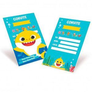 Convite Decorativo Baby Shark 8 unidades