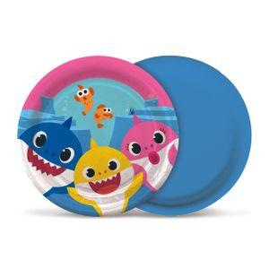 Prato de Papel Rígido Baby Shark 8 unidades