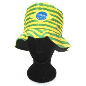 Chapéu de Cetim Listas Verde e Amarelo Brasil Tamanho Único